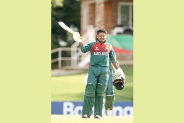 Mahmudul Hasan Joy of Bangladesh celebrates his century during the ICC U19 Cricket World Cup Super League Semi-Final match against New Zealand at JB Marks Oval, Potchefstroom on Thursday.