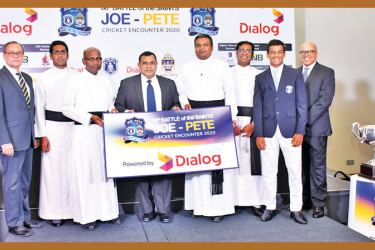 Rev. Fr. Ranjith Andradi – Rector, St. Joseph's College (Third from left) and Rev. Fr. Rohitha Rodrigo – Rector, St. Peter's College (Fourth from right), receiving the sponsorship from Trinesh Fernando (Fourth from left), General Counsel/Vice President, Group Legal and Regulatory, Dialog Axiata PLC. Michael Elias - Joint Organising Committee Member, St. Peter's College, Rev. Fr. Milan Bernard – Sports Coordinator, St. Peter's College, Rev. Fr. Priyan Tissera – Prefect of Games, St. Joseph's College, Johanne