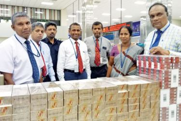 Seized cartons of foreign cigarettes at the BIA