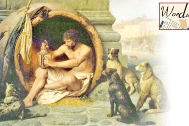 """""""Diogenes"""" by Jean-Léon Gérôme, 1860; from Dogs in Art by Susie Green."""