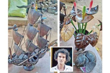 A ship and flower vase crafted by Jayasena.