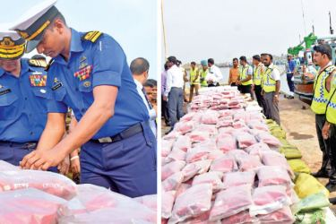 The heroin and crystal methamphetamine haul seized by the Sri Lanka Navy on information received from the Police Narcotics Bureau. (Left) Navy Commander Vice Admiral Piyal De Silva inspecting the seized items. Pictures by Gayan Pushpika
