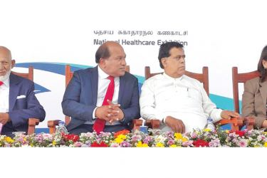 Former Minister A.H.M.Fowzie, Dr. Amal Harsha De Silva, Minister Nimal Siripala De Silva and the WHO Representative at the Medicare 2020 opening. Picture by Dinesh Perera.