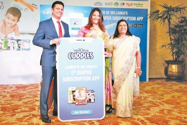 Threadworks Chairman Dr. Gehan De Soysa, Head of Communications Tiasha De Soysa and Velona Cuddles Sales Manager Sandra Athuraliya introduce Sri Lanka's First Diaper Subscription App. Picture by Sudath Malaweera