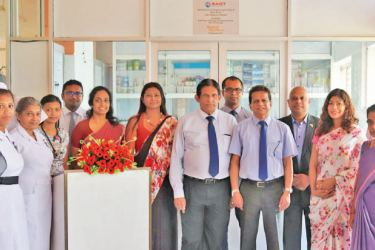 Representatives from South Asia Gateway Terminals with staff members of Lady Ridgeway Hospital at the  Drug storage Unit