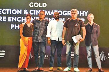 From left: Deepthi Peiris, Executive Producer and Head of AV/ TV Department, S.M. Sudesh, Chief Executive Officer, Shabeer Ali, Associate Account Director and Rajiv Menon, Chief Executive Creative Officer of Phoenix Ogilvy with Epica Awards Editorial Director Mark Tungate.