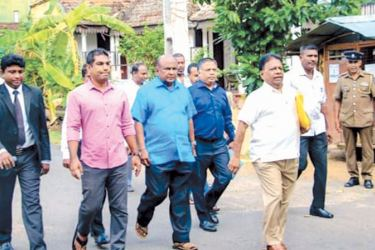 Minister of Education, Sports and Youth Affairs Dullas Alahapperuma,  former Ministers of State Mahinda Yapa Abeywardena and Kanchana Wijesekera  together with a few supporters on their way to the District Secretariat, Matara to hand over the SLPP nomination list for the forthcoming Parliamentary election.