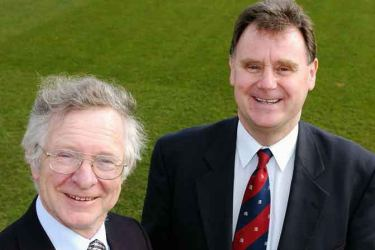 Frank Duckworth (left) and Tony Lewis co-developed the Duckworth-Lewis-Stern system of calculating target scores in rain-affected matches.