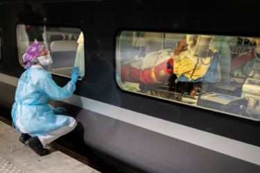 A medicalised train carrying COVID-19 patients in France (AFP)
