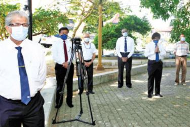 SLPA's Managing Director Capt. Athula Hewavitharana, and other senior officials at SLPA Chathiya Premises to mark the religious observations