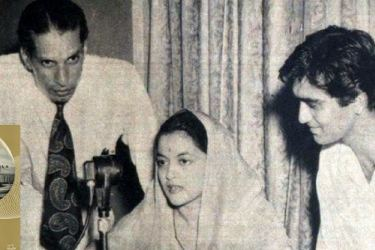 A young Sunil Dutt listening to Hindi film star Nalini Jaywant speaking over Radio Ceylon