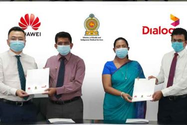 How health care professionals across the country can coordinate virtually via telepresence solutions. (Bottom photo) CEO, Huawei Technologies Lanka Co, Liang Yi, Director General of Health Services, Dr. Anil Jasinghe, Minister of Health Pavithra Wanniarachchi, and Group Chief Executive, Dialog Axiata Supun Weerasinghe.