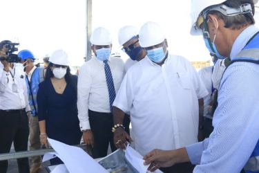 Minister Ranatunga inspecting the construction work at BIA.