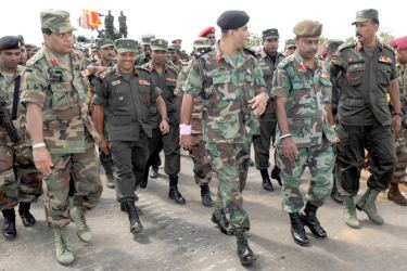 Present Army Commander Lieutenant  General Shavendra Silva, present Defence Secretary Maj. Gen. (Retd) Kamal Gunaratne and a few other troop leaders during the humanitarian operation.