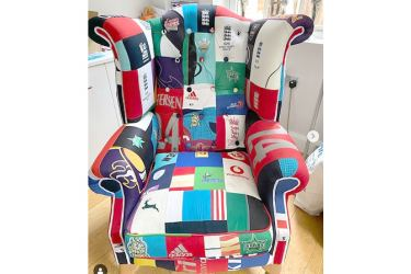 The ingenious chair made up of all of the strips the former England international has ever worn.