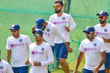 Indian cricket team during a practice session.