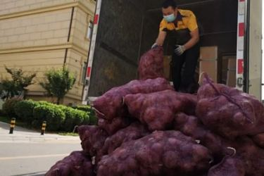 Picture shows a delivery driver unloading the onions on Saturday.