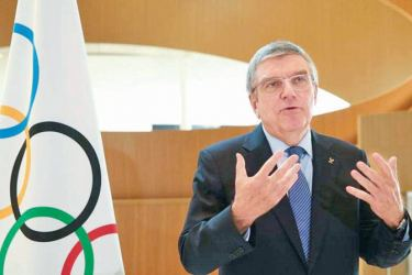 Thomas Bach, President of the International Olympic Committee (IOC) attends an interview after the decision to postpone the Tokyo 2020 because of the coronavirus disease (COVID-19) outbreak, in Lausanne, Switzerland, March 25, 2020.