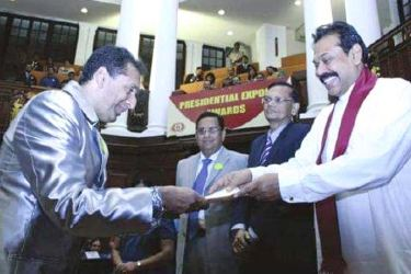 The prestigious Presidential Award for Ship Building and Ship Repairing was won by Colombo Engineering on many occasions and here then President Mahinda Rajapaksa is seen presenting the award to Kiran Atapattu, Sri Lanka's largest shareholder of MTD Walkers Group of Companies at the Awards ceremony held at Temple Trees.