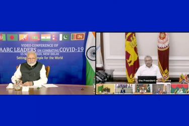 President Gotabaya Rajapaksa and Indian PM Narendra Modi at the SAARC leaders video conference on the Coronavirus response