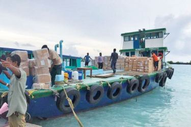 A stock of dry rations dispatched by Sri Lanka to the Maldives.