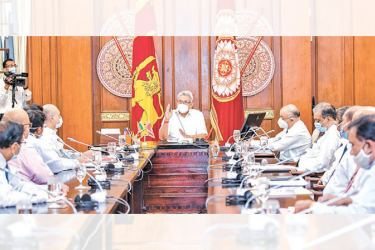 President Gotabaya Rajapaksa speaking at a meeting with the Chairman and Board of Directors of the Bank of Ceylon (BoC) at the Presidential Secretariat yesterday. Picture courtesy President's Media Division