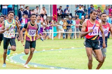 Action at the 4x400 relay of the 45th National sport festival held at Polonnaruwa last year