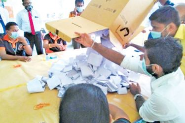 "A mock vote counting session underway in Galle, as part of the EC's programme of rehearsing for holding the General Election under the ""New Normal"" conditions"