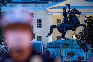 The equestrian statue of former US President General Andrew Jackson has ropes and chains still hanging, after protesters tried to topple it, at Lafayette Square, in front of the White House, in Washington.