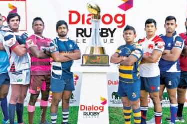The captains of the Dialog Inter Club Rugby Tournament 2019/20 with Championship trophy.