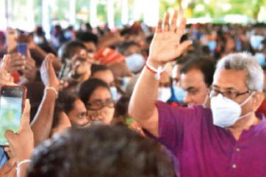 President Gotabaya Rajapaksa greeting the crowds. Pictures by A.A.L. Dias, Matale District Group Corr.