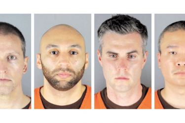 The four Police officers accused in the George Floyd murder. From left: Derek  Chauvin, J. Alexander Kueng, Thomas Lane and Tou Thao.