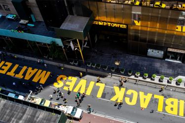 Black Lives Matter is painted on Fifth Avenue in front of Trump Tower in New York on Thursday.
