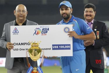 India Captain Rohit Sharma receiving the Asia Cup at the last tournament held in UAE in 2018