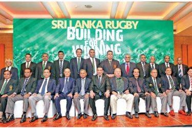 Rizly Illyas the incumbent Sri Lanka Rugby President with his new committee and the honorary life members