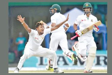 Action from a Sri Lanka - Bangladesh Test match