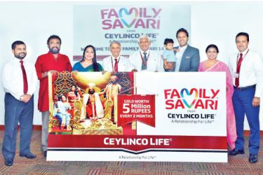 Representatives of Ceylinco Life'ssenior management and Marketing Division with the four Family Savari Brand Ambassadors at the launch of the 14th edition of the promotion