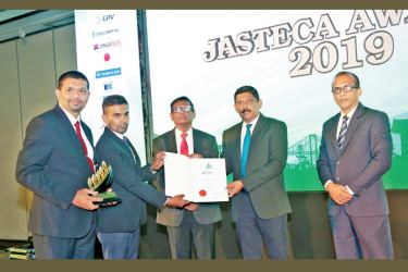 EFL Global Freeport team; Damayantha De Alwis (Sector Business Head) and Binara Wijesuriya (Business Head) accepting the Taiki Akimoto 5S Award from Sunil Ratnayake (General Secretary – JASTECA), Dr. Anil Munasinghe (General Manager: Marketing - Kelani Cables) and Nirosh De Silva (Assistant General Secretary – JASTECA)