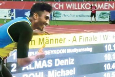 Yupun Wijekoon after setting up 100m Sri Lanka and South Asian records in Germany