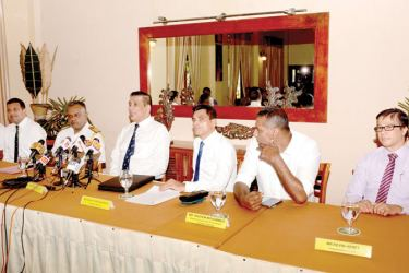 Rizly Illyas, President, SLR (fourth from left) briefs the media on their future programmes at a press conference held in Colombo. Also in the picture (from left) - Dilroy Fernando, Consultant Training and Education, SLR, Jude Dimithri, Secretary, SLR, Rear Admiral Deshapriya Hettiarachchi, Vice President, SLR and Womens Development Committee Chairman, Ranjith Weerasinghe, Director, SLR 7's, Nazeem Mohamed, Deputy President, SLR and Tournament Committee Chairman, Kevin Herft, Executive Director, SLR.