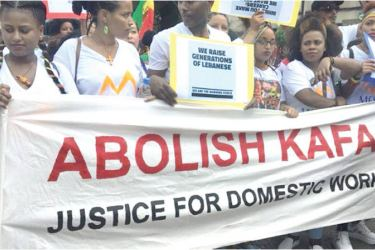 """Foreign domestic workers staged a recent protest in Beirut against Lebanon's """"Kafala"""" system."""