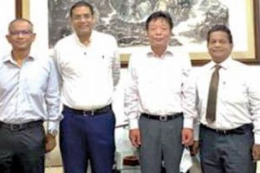 Yang Zuoyuan Economic and Commercial  Counsellor  with International Chamber of Commerce Sri Lanka Chairman Dinesh Weerakkody, Treasurer Sheanath de Zoysa and COO Ranjith Fernando at the Chinese Embassy in Colombo.