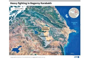 Map locating the separatist region of Nagorny Karabakh in Azerbaidjan, which has a majority Armenian population.