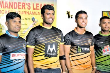 The team captains at the media briefing (from left), Seekkuge Prasanna (Northern), Thisara Perera (Western), Dinesh Chandimal (Southern) and Asela Gunaratne (Eastern). Picture by Samantha weerasiri