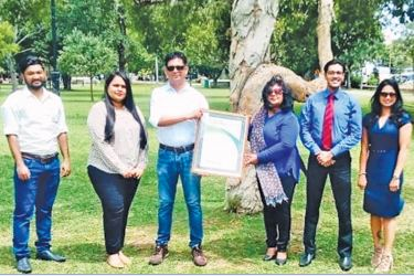 The Exterminators Founder/Managing Director Marlon Ferreira receiving the certificate from Shamila Suhaib - Director Customer Engagement and Global Partnership Development at SFG. Hazziq Nazar, Shehani De Waas from Exterminators, Sajeewa Ranasinghe SFG, and Ruwanthi Halwala 'CCC look on.