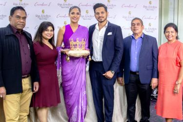 Raja Jewellers officials with Mrs. World, Caroline Jurie.
