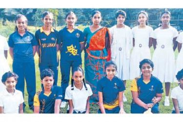The present Mahamaya Girls School Cricket team with the Teacher-in-charge N.E. Jayakody  (Picture. by Upananda Jayasundera-Kandy Sports Spl.Corr.)