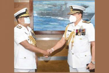 Navy Commander Vice-Admiral Nishantha Ulugetenne with Rear Admiral Lalith Dissanayake.