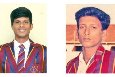 Dinura Fernando (on left) and  his father Vishwanath Fernando who captained in  1991/92