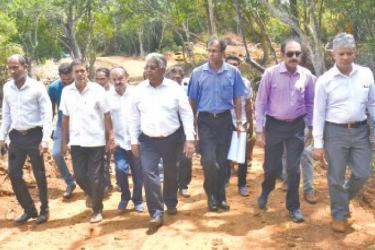 State Minister Siripala Gamalath and others on the inspection tour.
